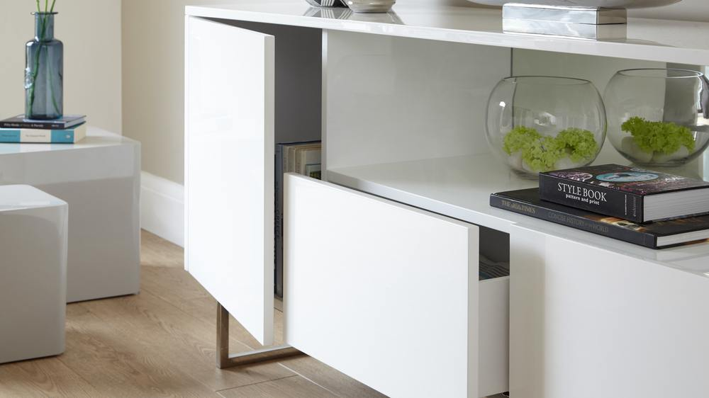 Modern Designer White Gloss unit with Storage