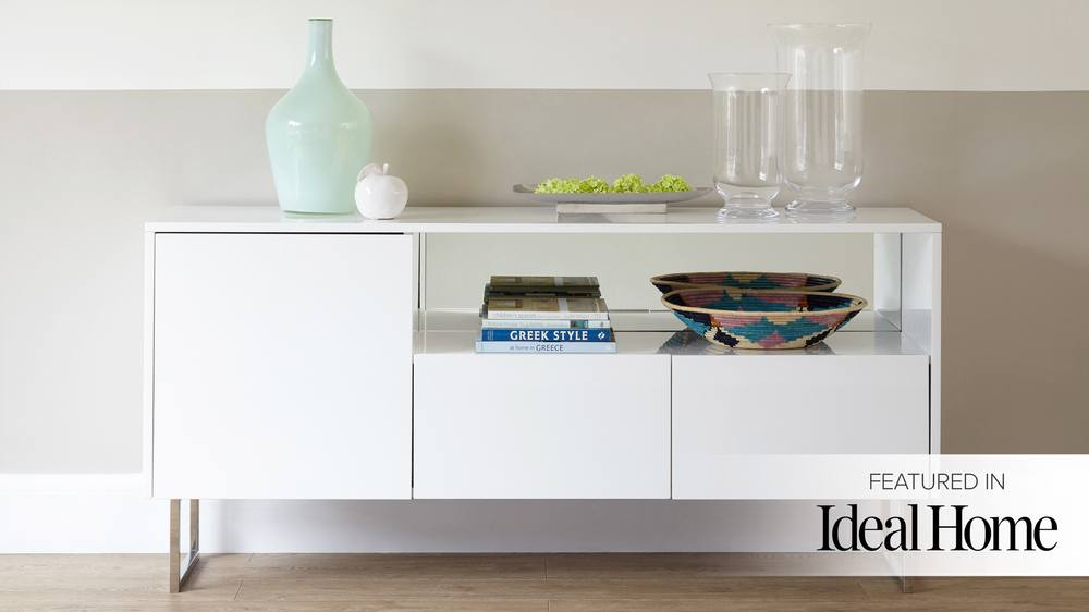 Modern Designer White Gloss Sideboard with Storage
