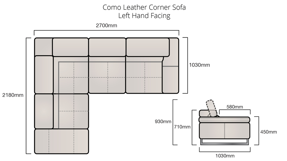 Left Facing Leather Corner Sofa
