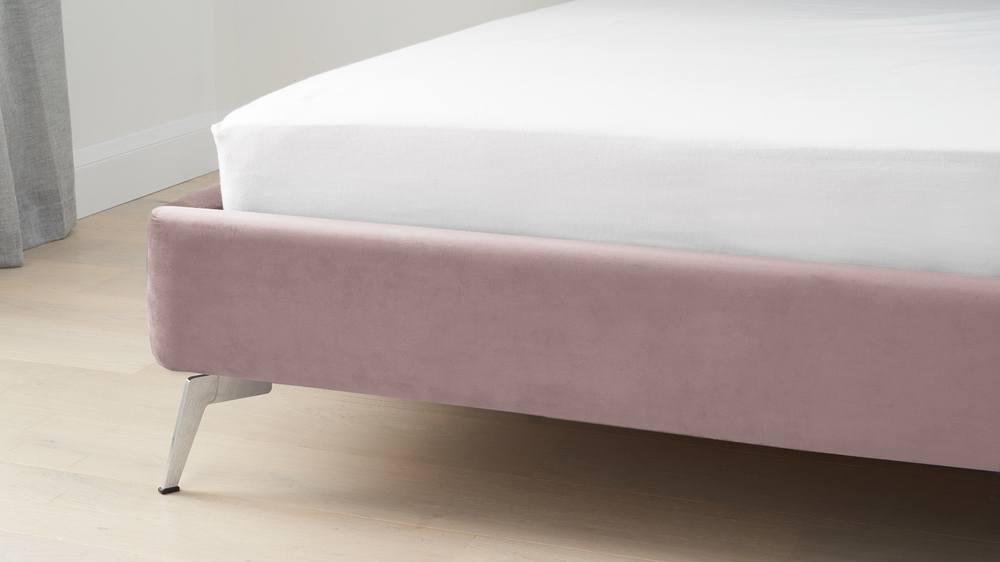 Velvet blush double bed with chrome legs