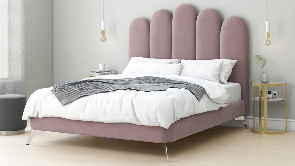 Rene Blush Velvet King Size Bed Danetti Beds Uk