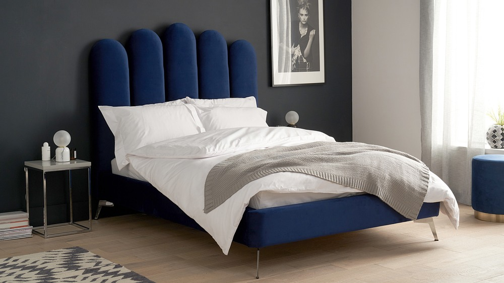 Modern blue velvet chrome leg bed