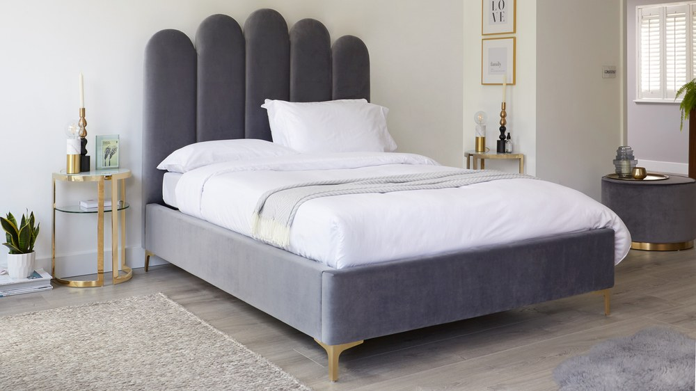Rene Pepper Grey Velvet Double Ottoman Bed