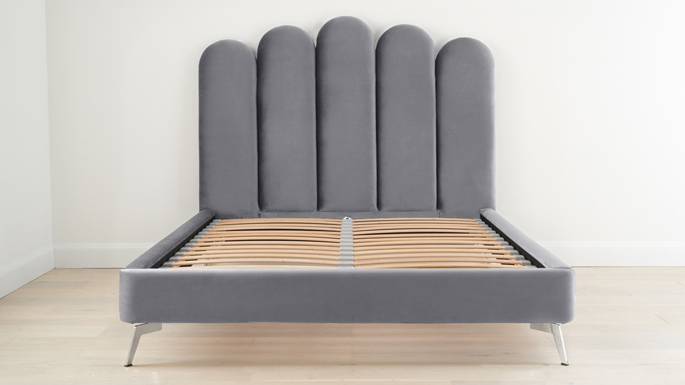 Grey art deco bed