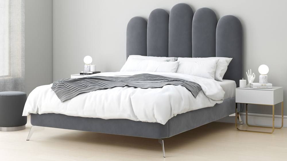 silver grey velvet headboard super king