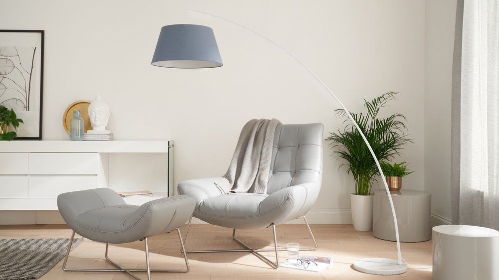 White modern arc lamp with marble