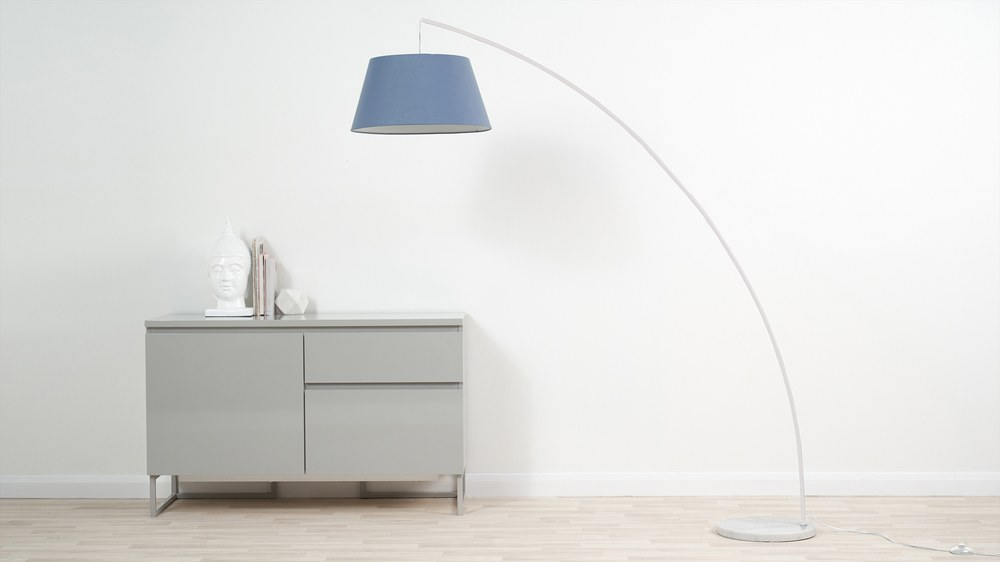 Large white arc floor lamp