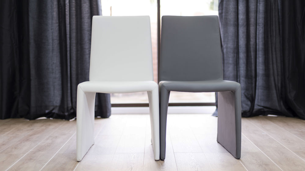 Comfortable White and Grey Dining Chairs