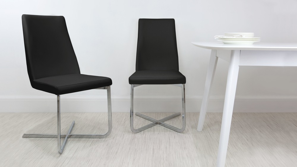 Contemporary Black Cantilever Dining Chair
