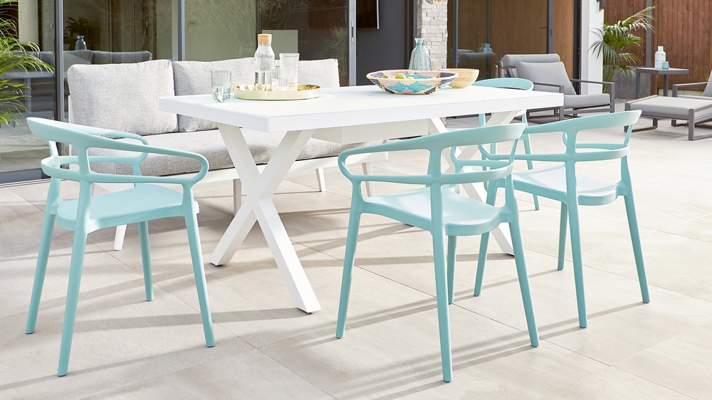 Modern garden dining table white