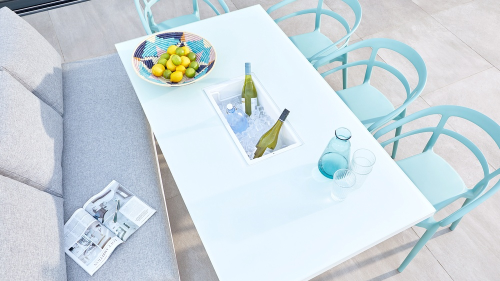 White garden table with ice bucket