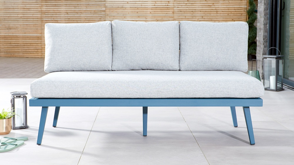3 seater outdoor dining bench blue