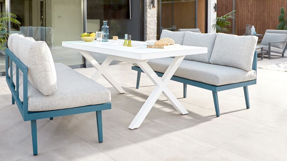 Rio White 6 Seater With Palermo Ocean Bench Outdoor Dining Set