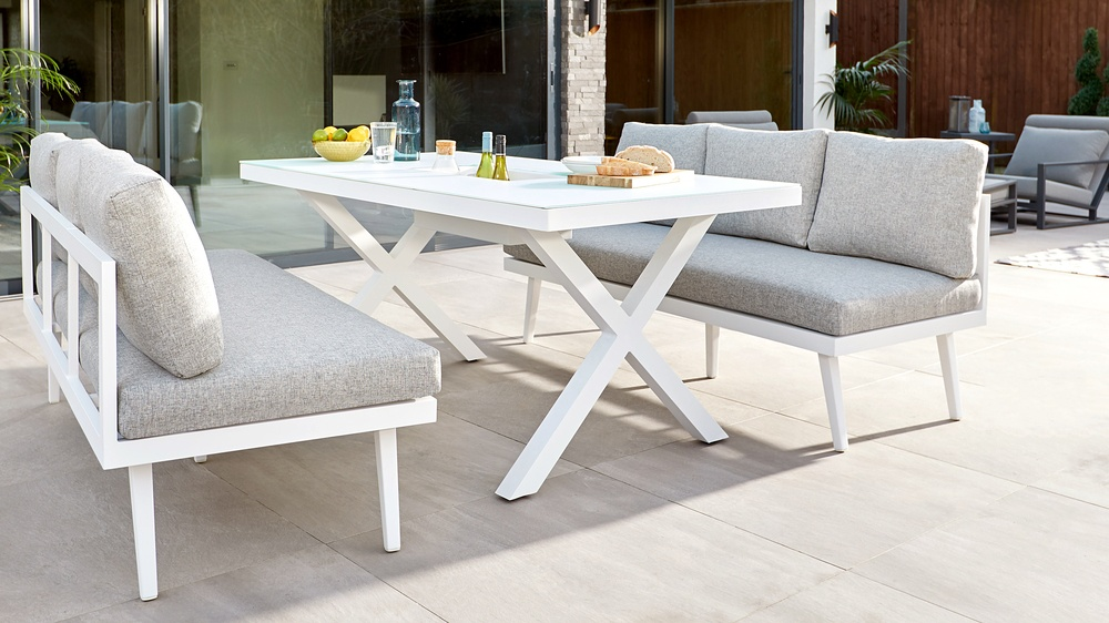 White garden dining bench set
