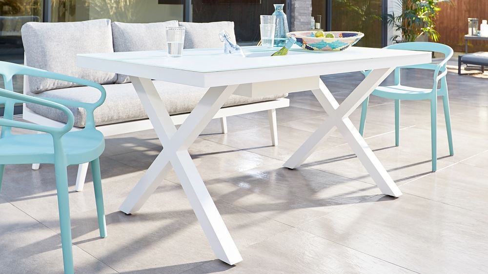 White garden table with glass