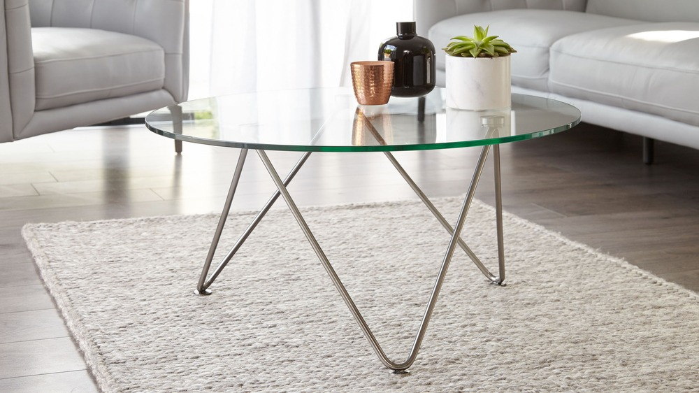 Black chrome and glass coffee table
