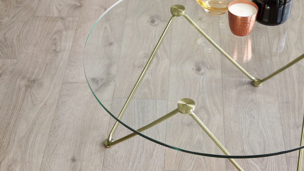 brass and glass round coffee table