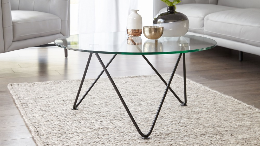 Ripple Matt Black And Glass Coffee Table Danetti