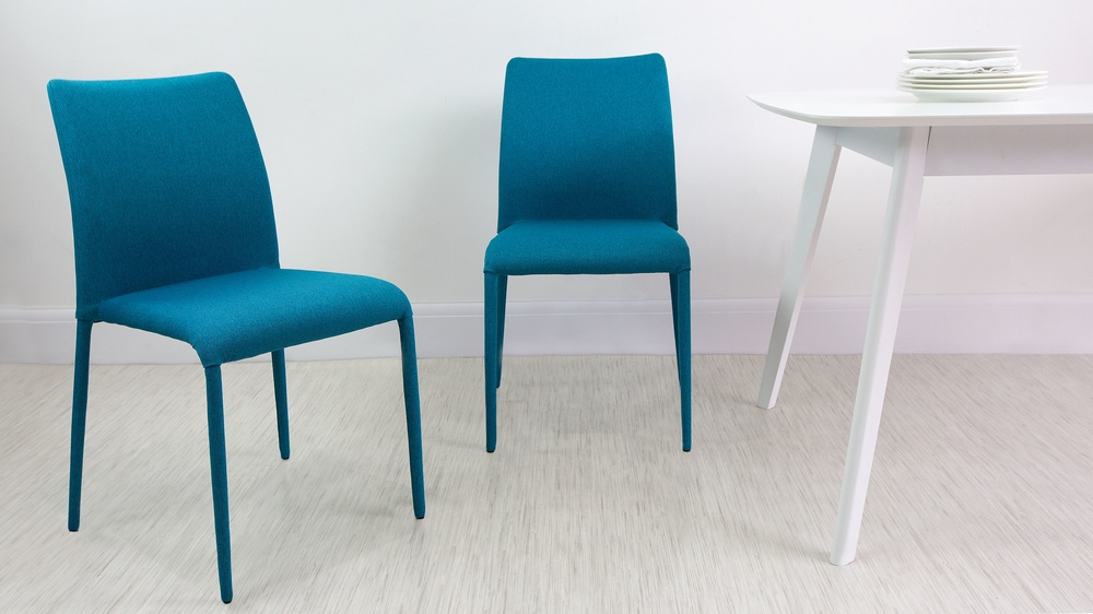 Fabric Dining Chairs Teal fully upholstered stackable fabric dining chairs | uk