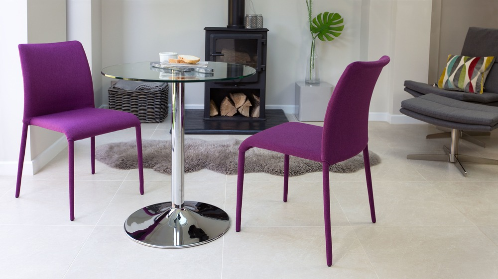 Purple Fabric Dining Chairs