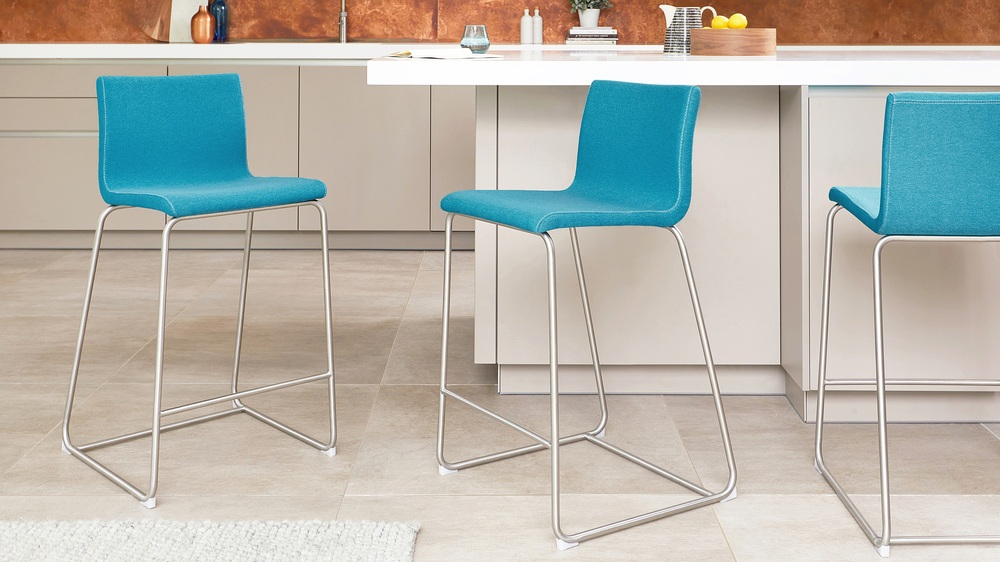 Fabric Bar Stool Fixed Height Bar Stool Teal Bar Stool