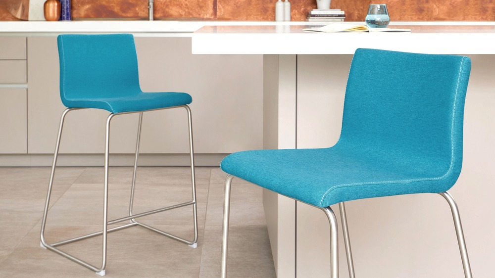 teal fabric bar stool