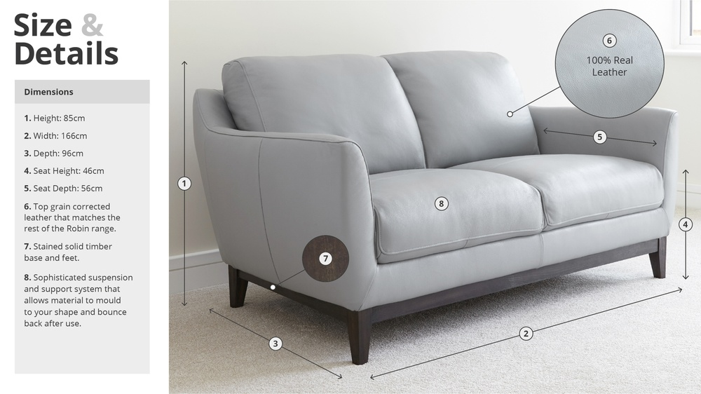 Modern Leather Sofa Size and Details
