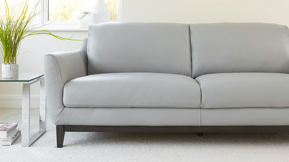 3 Seater Leather Sofa Living Room Furniture UK