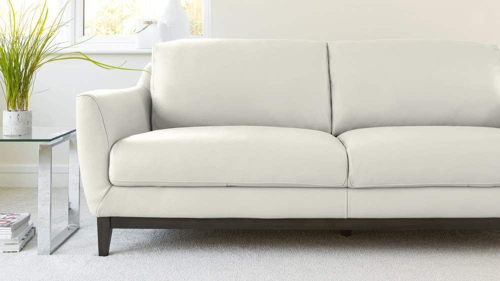 White Leather Comfortable Sofa