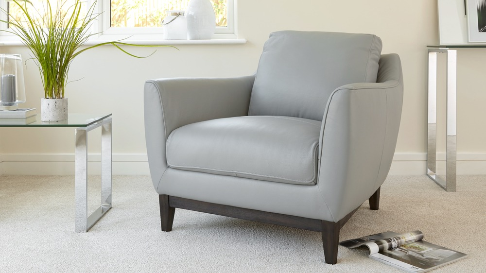 Contemporary Grey Leather Armchair
