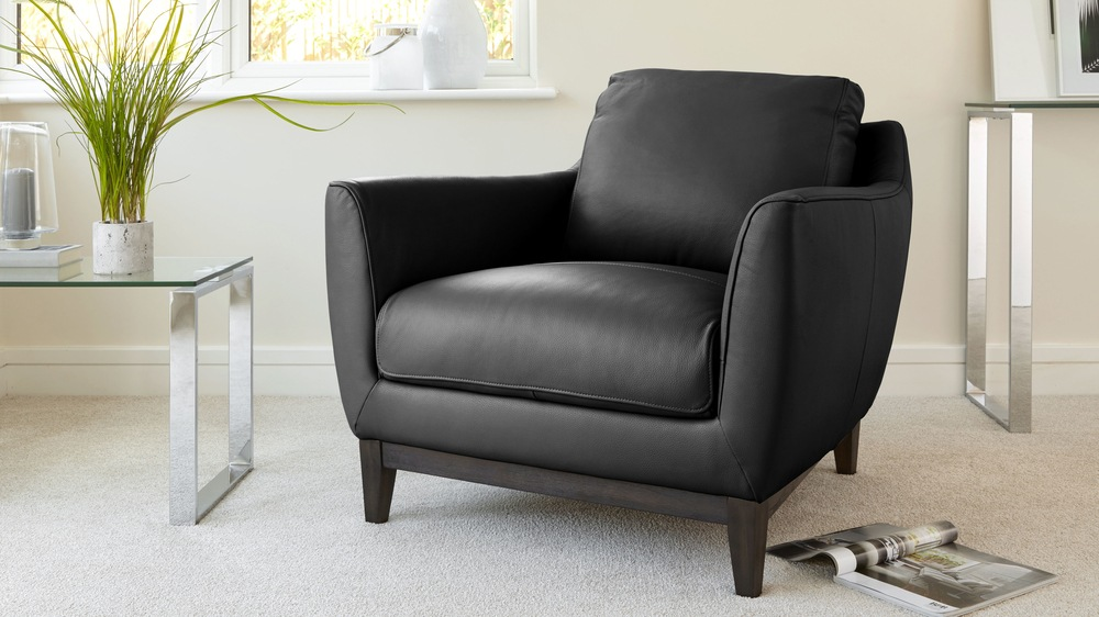 Black Premium Leather Armchair Sofa