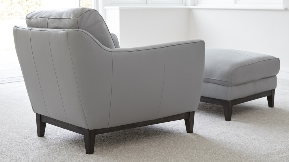 Modern Grey Leather Armchair with footrest