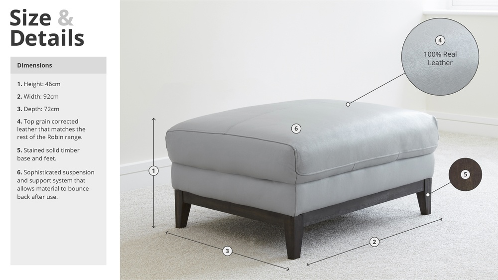 Modern Leather Footstool Size and Details