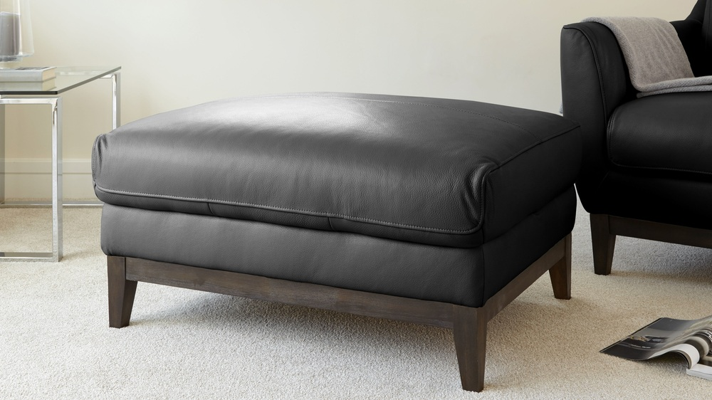 Black Quality Leather Footstool