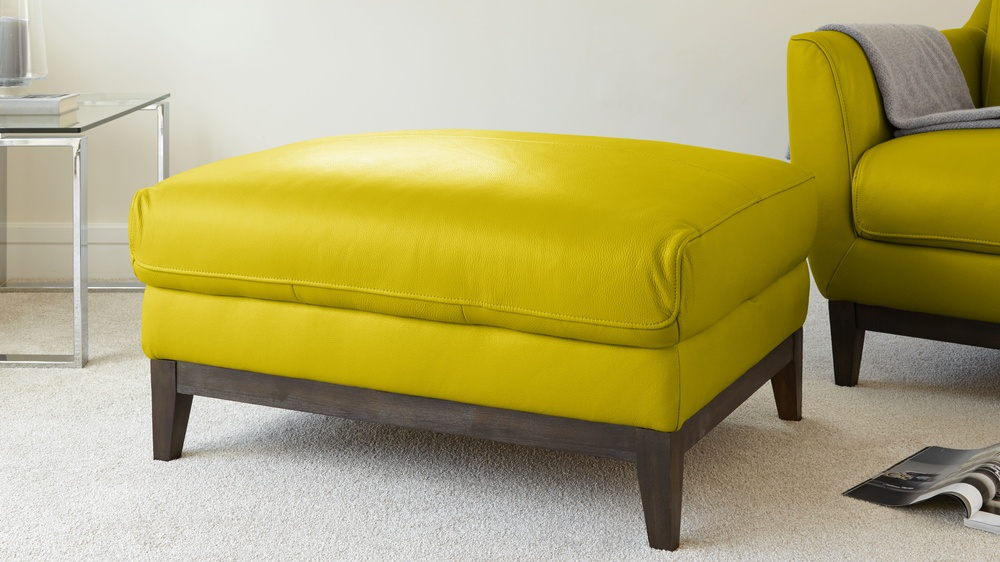 Yellow Unique Leather Footstool