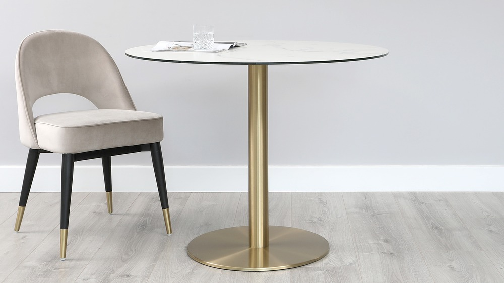 Romeo Ceramic Marble Round Pedestal Table