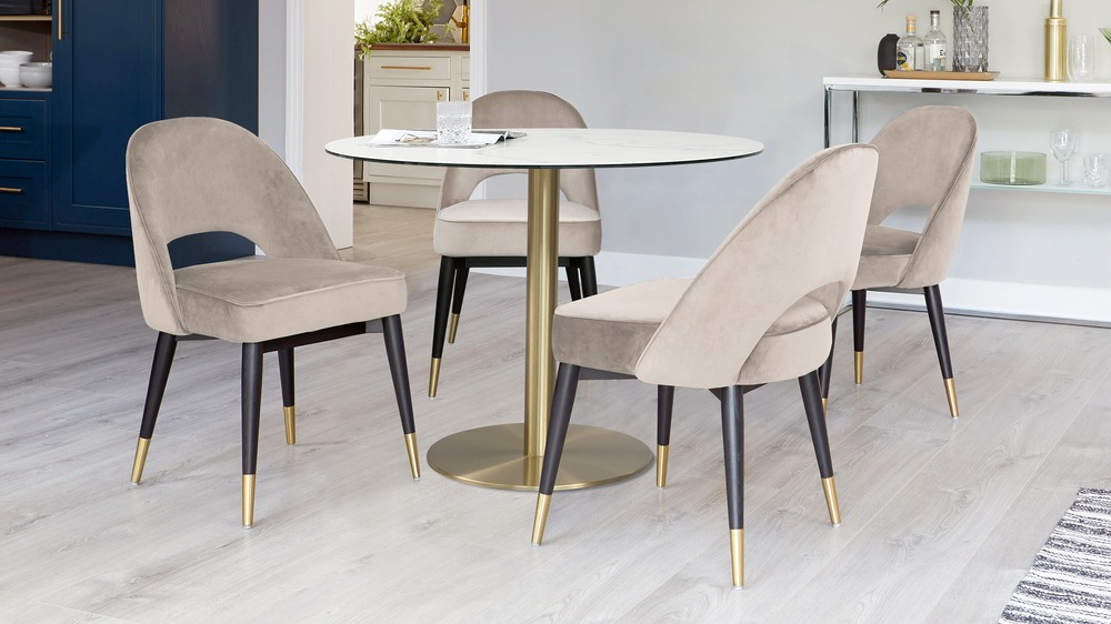 Romeo Marble Table with Clover Champagne Velvet Chairs