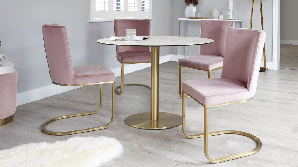 Romeo Marble Table with Form Blush Pink Velvet Chairs