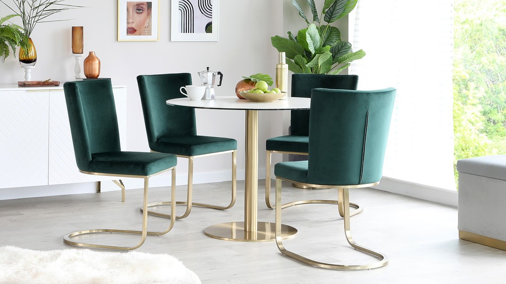 Romeo Marble Table with Form Fern Green Velvet Chairs