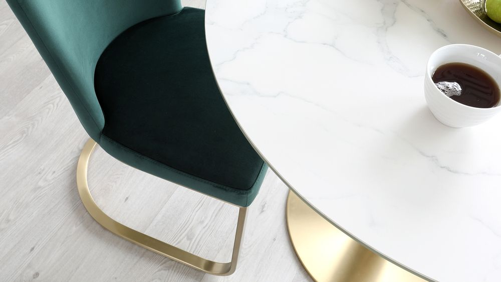 Romeo ceramic marble and brass table