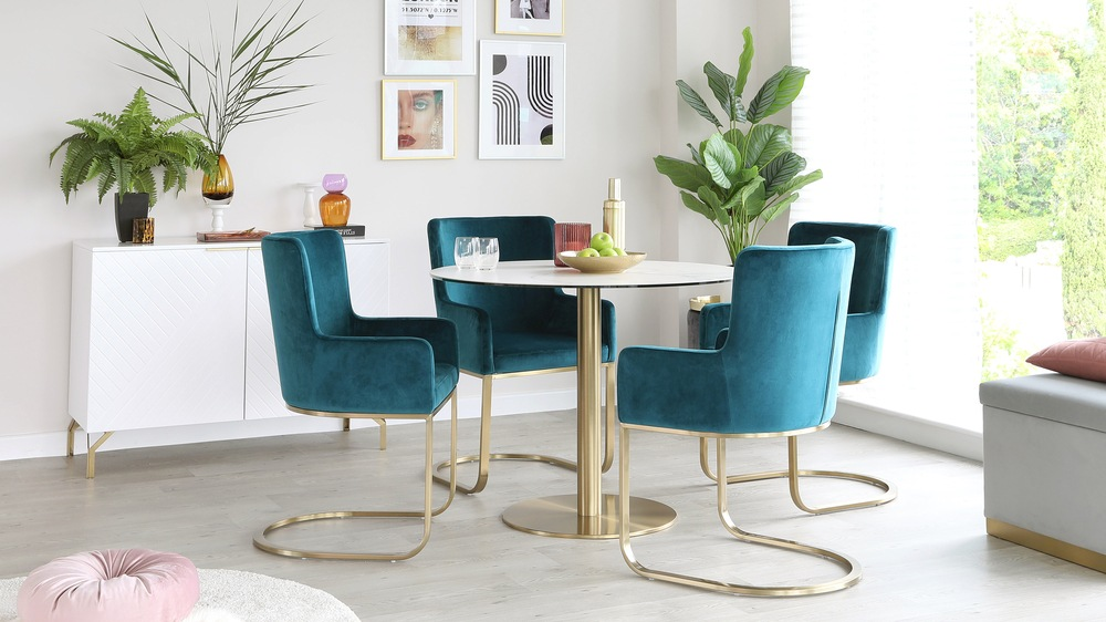 Form teal velvet dining chairs