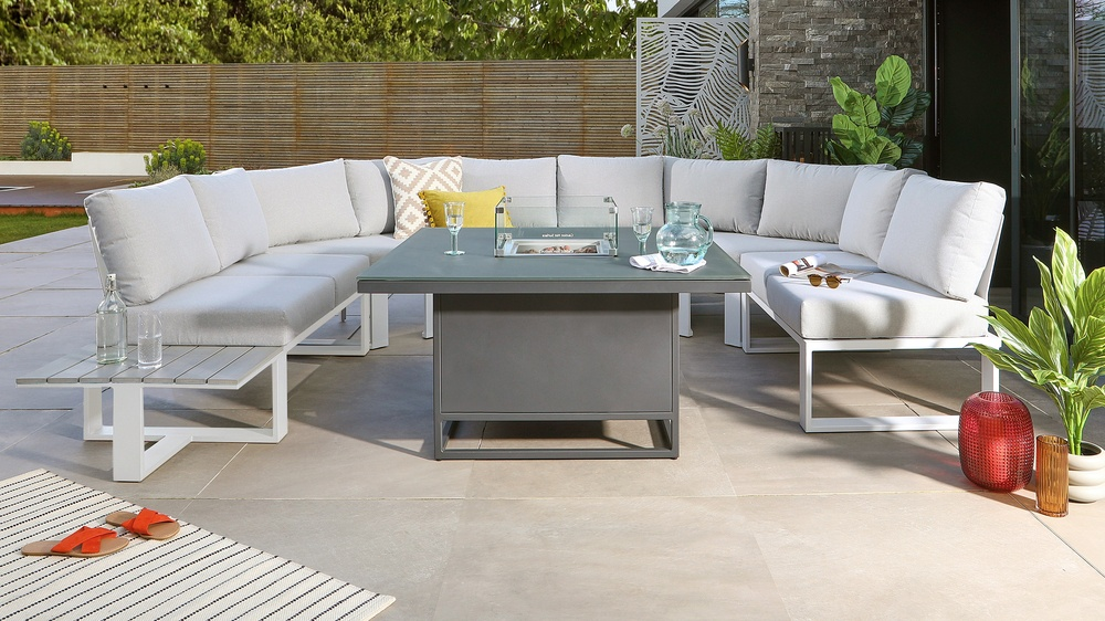 Romero Firepit Table and Savannah White U Shape Bench Set