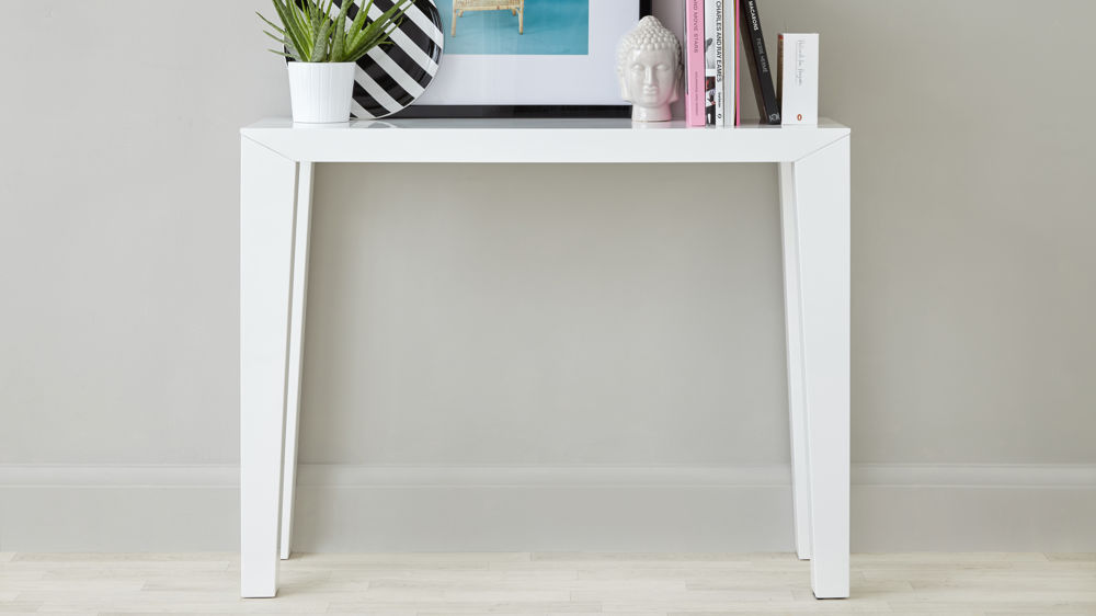 Modern white gloss console table surface storage uk for Modern white lacquer console table