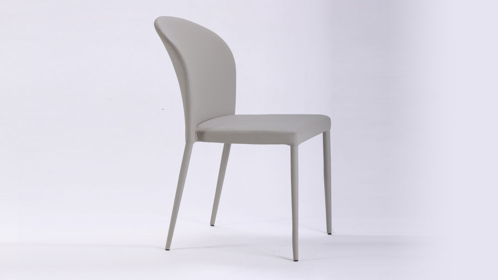 Curved back light grey dining chair