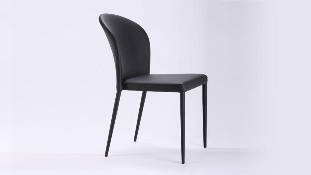 Curved back black dining chair