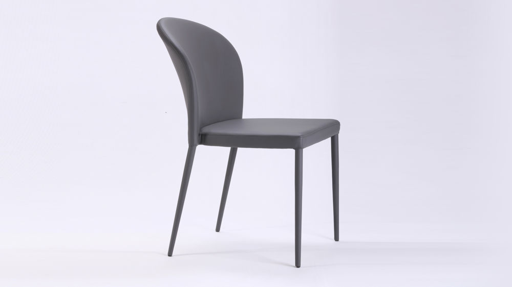 Curved back dark grey dining chair