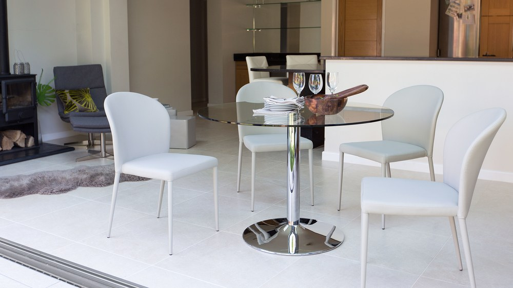 Large 4 Seater Glass Table and Grey Dining Chairs