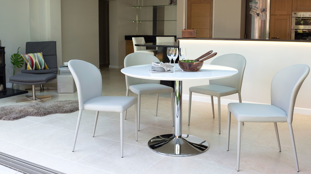White Gloss Dining Table and Grey Dining Chairs