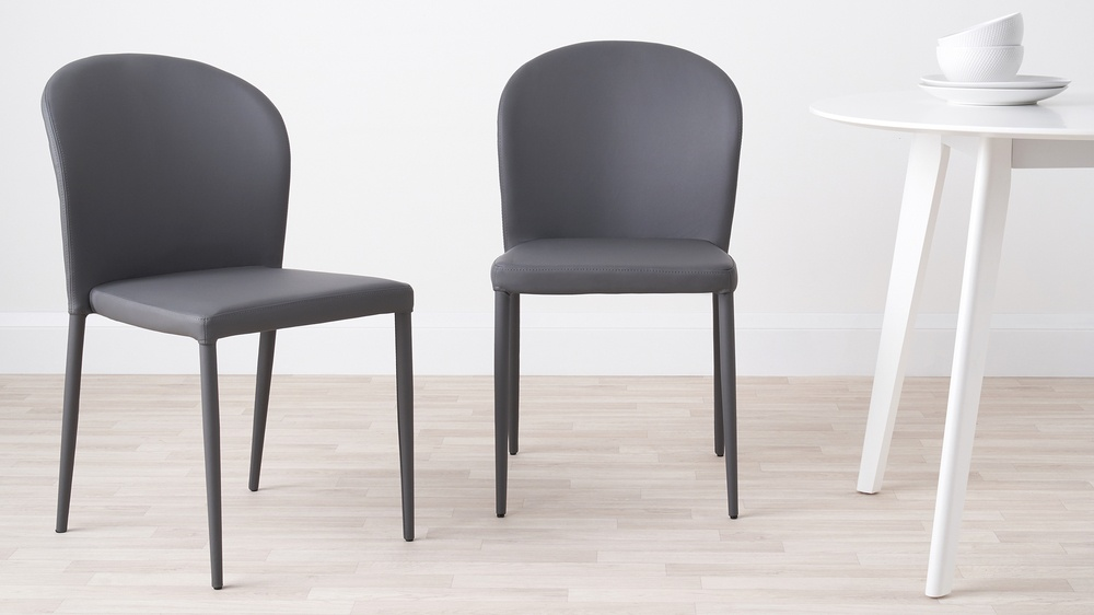 Santo Grey Faux Leather Dining Chairs Danetti
