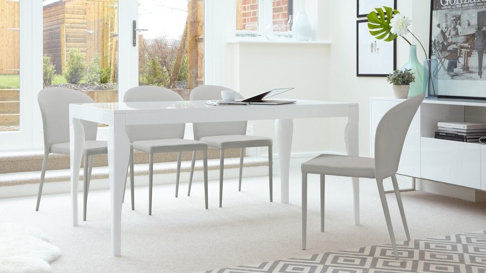 Light Grey Dining Chairs and White Gloss Dining Table